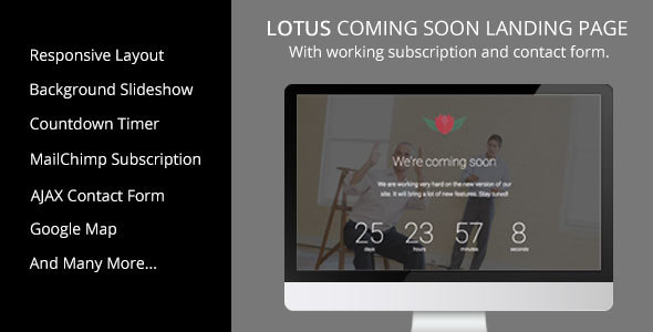 Lotus - Coming Soon Landing Page - Site Templates