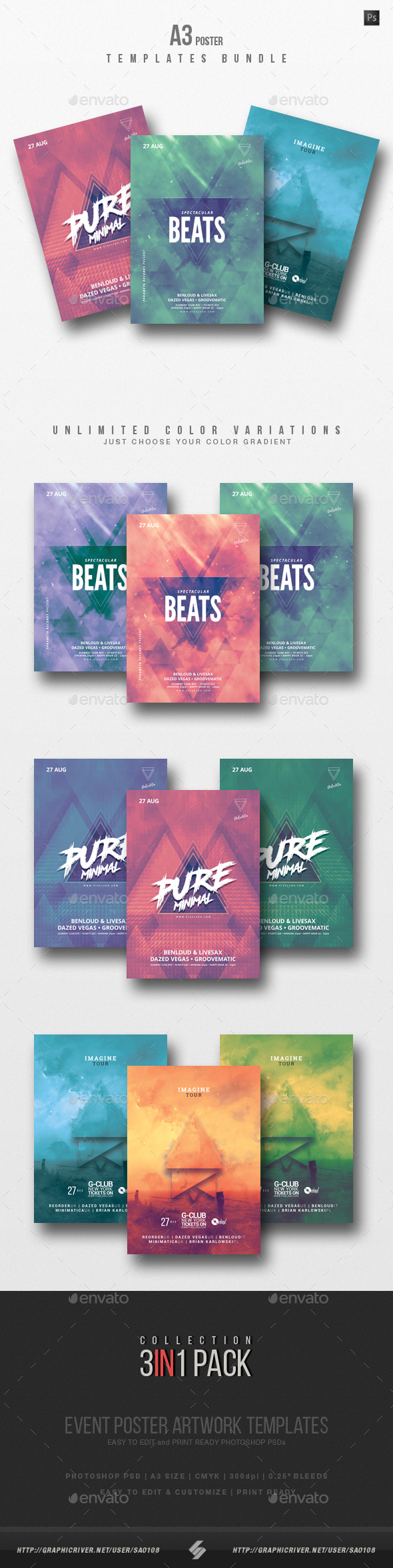 Minimal Sound vol.4 - DJ Party Poster / Flyer Templates Bundle A3 - Clubs & Parties Events