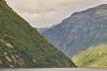 Norwegian fjord landscape. Hellesylt-Geiranger cruise route. Visit Norway. Travel