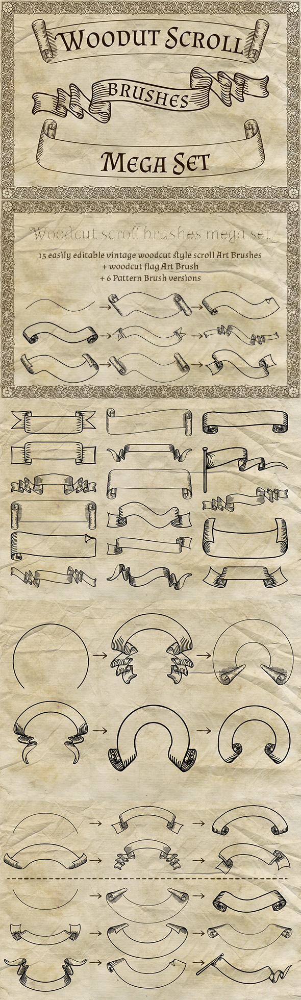 GraphicRiver Woodcut Scroll Brushes Mega Set 20360451