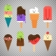 Ice Cream Icons on Transparent Background