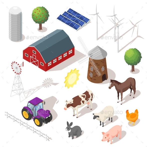 GraphicRiver Isometric 3D Vector Farm Set Farm Animals 20364061