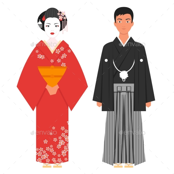 Vector Flat Style Illustration of Japanese - People Characters