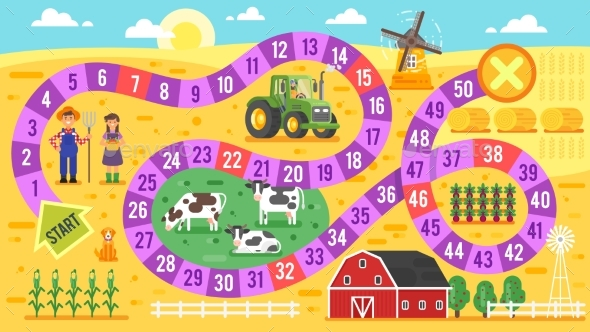GraphicRiver Vector Flat Style Illustration of Kids Farm Board 20364123