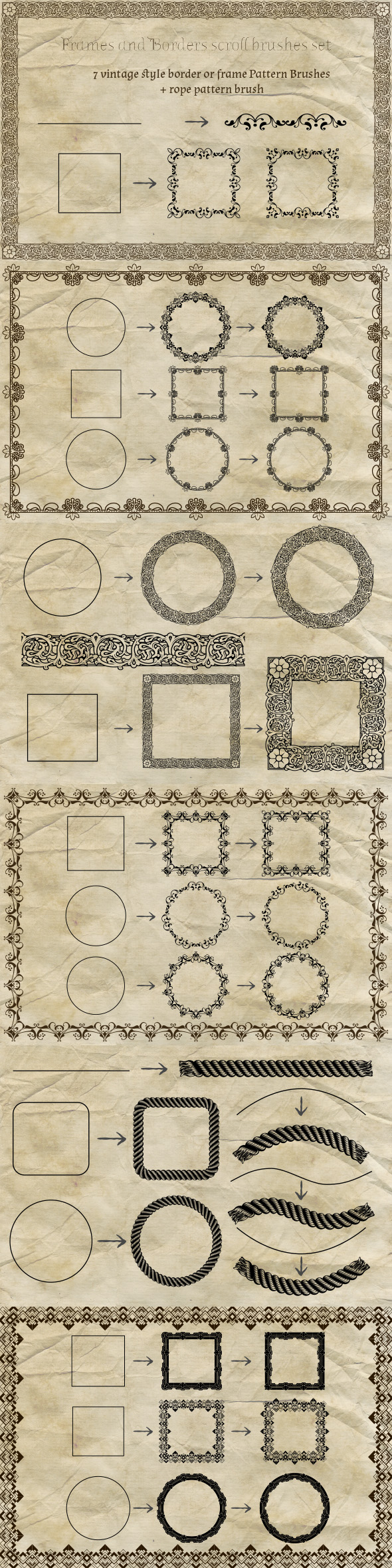 Vintage Border Frames Brushes Pack - Brushes Illustrator
