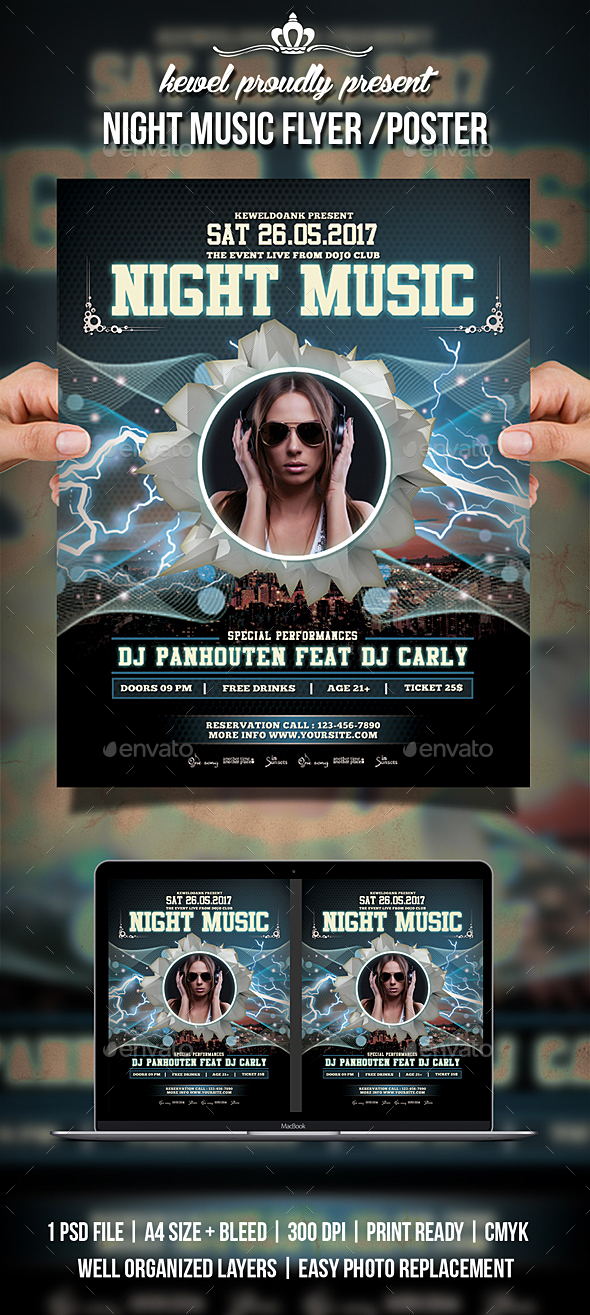 GraphicRiver Night Party Flyer Poster 20364265