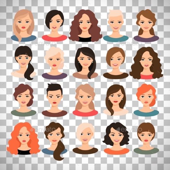 Woman Avatar Set on Transparent Background - People Characters