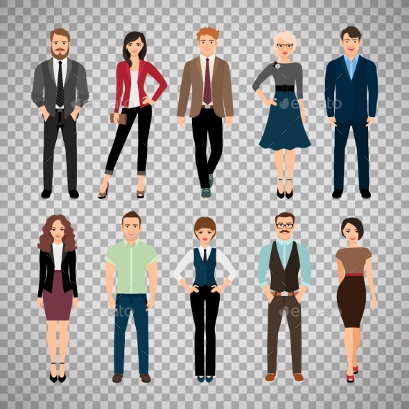 Casual Office People on Transparent Background - People Characters