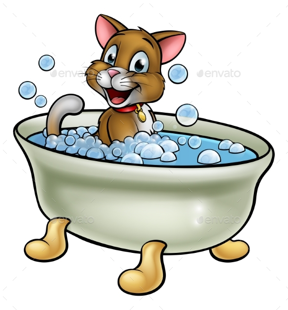 Cartoon Cat in Bath - Animals Characters
