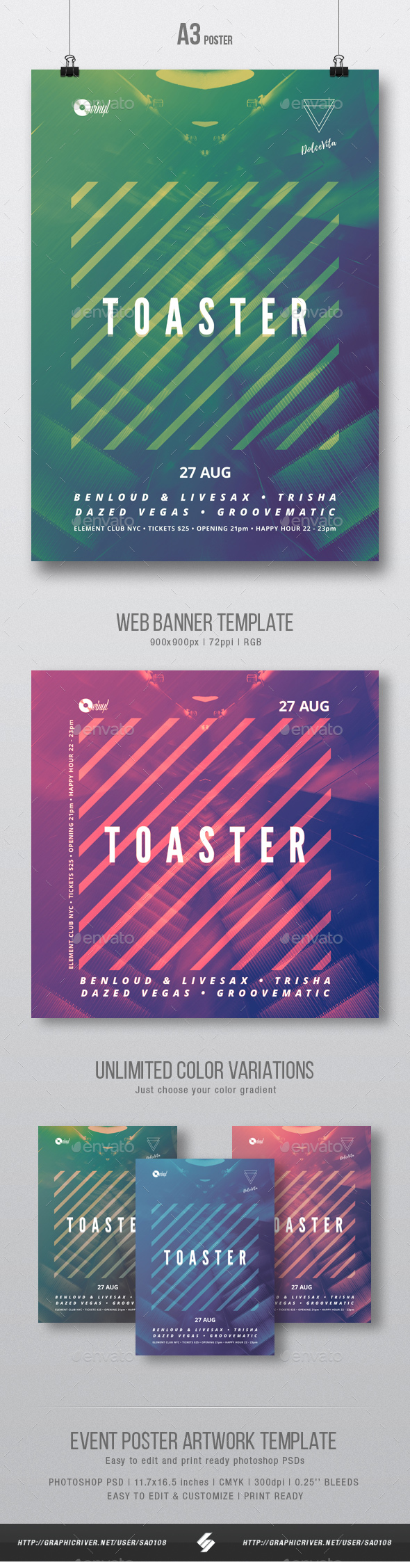 Toaster - Minimal Party Flyer / Poster Artwork Template A3 - Clubs & Parties Events