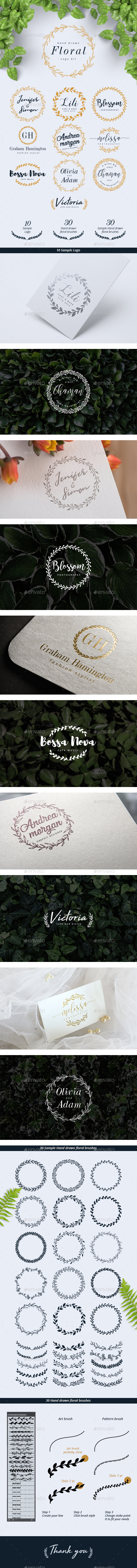 Hand Drawn Floral Logo Kit - Badges & Stickers Web Elements