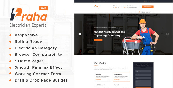 ThemeForest Praha Electrician Experts WordPress Theme 20364500