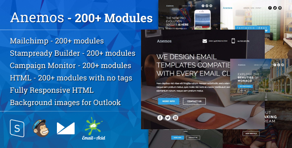 Anemos - Responsive Email Template with Mailchimp Editor, StampReady Builder & Online Composer