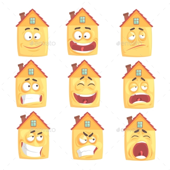 Cartoon Humanized House - Buildings Objects