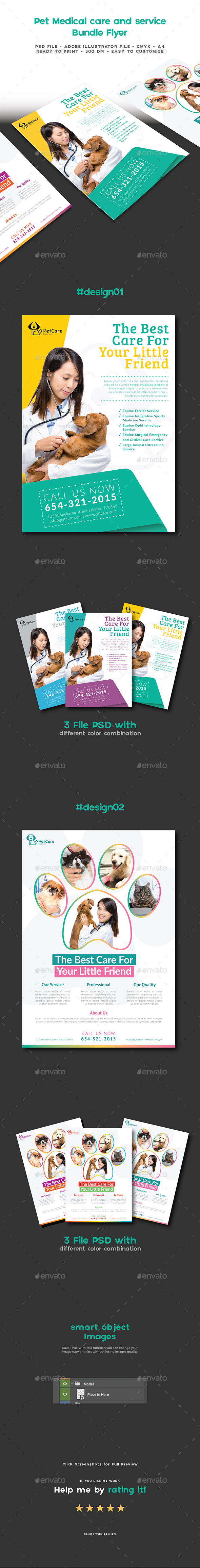 GraphicRiver Bundle Flyer Pet Medical Care and Service Clinic 20318785