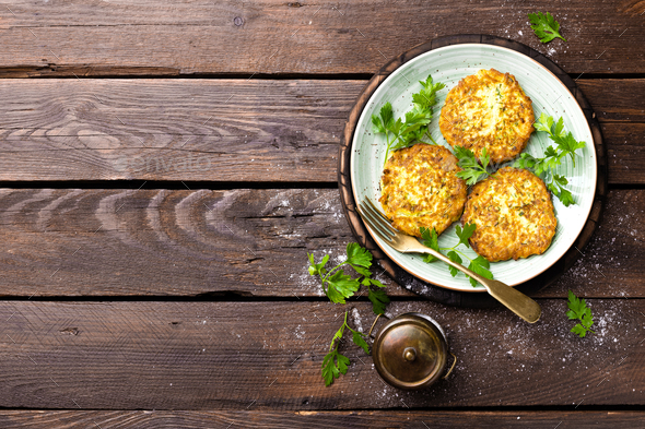 Vegetable zucchini pancakes - Stock Photo - Images