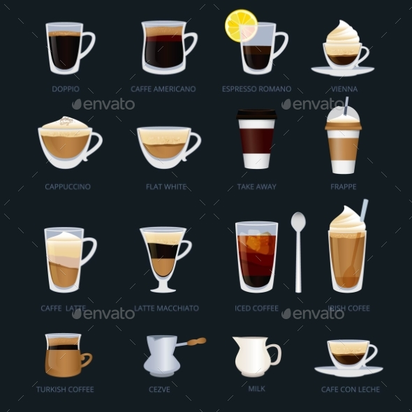 Mugs with Different Type of Coffee. Espresso - Objects Vectors
