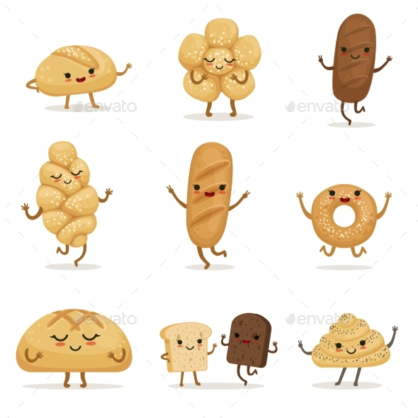Bakery Food with Different Emotions. Vector - Miscellaneous Vectors