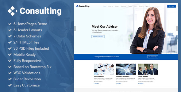 Consulting - Business, Finance, Broker, Advisor & Accounting HTML5 Template - Business Corporate