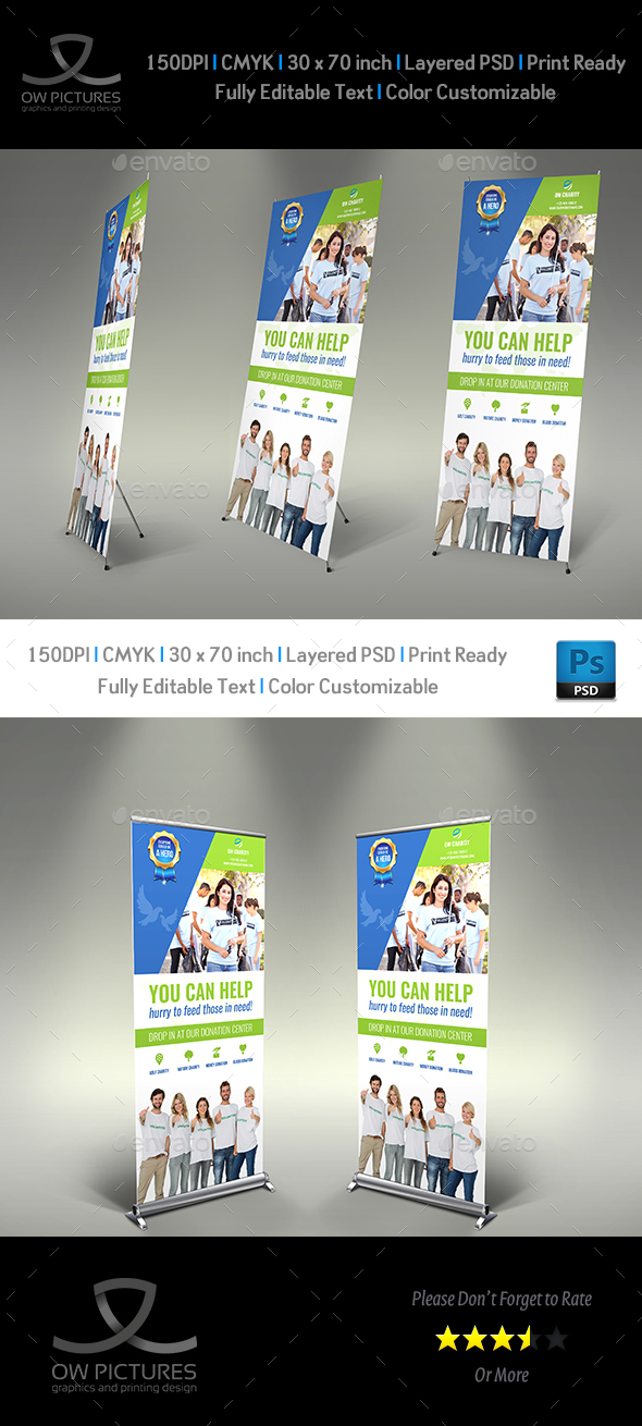GraphicRiver Volunteer Signage Roll Up Banner Template 20365244