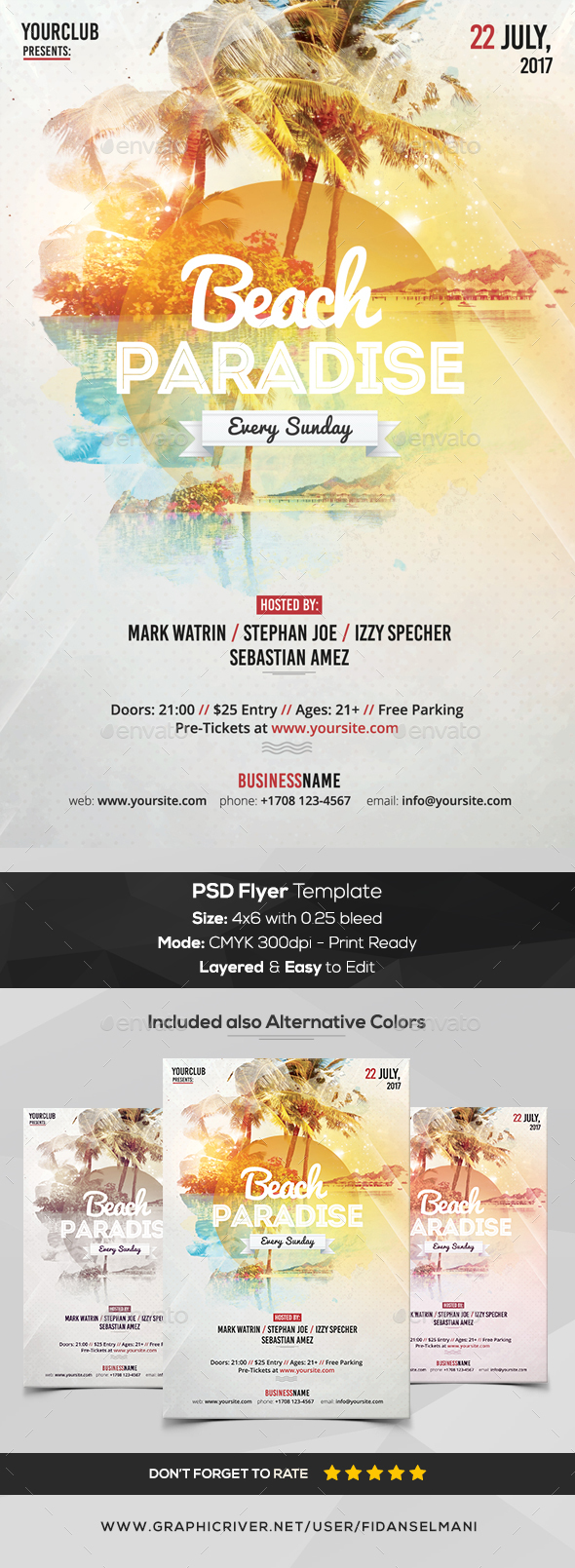 GraphicRiver Beach Paradise PSD Flyer Template 20365316