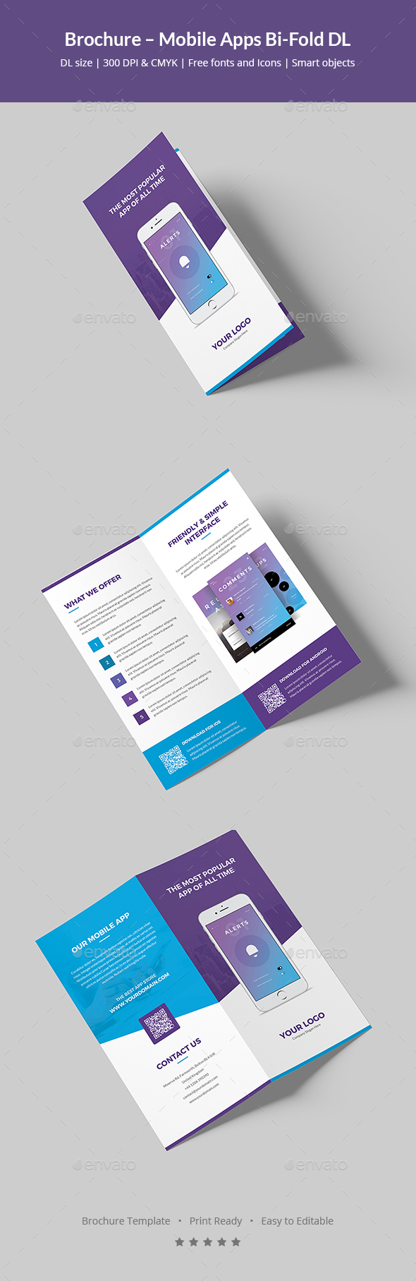 Brochure mobile apps bi fold dl by artbart graphicriver for Free bi fold brochure template 2