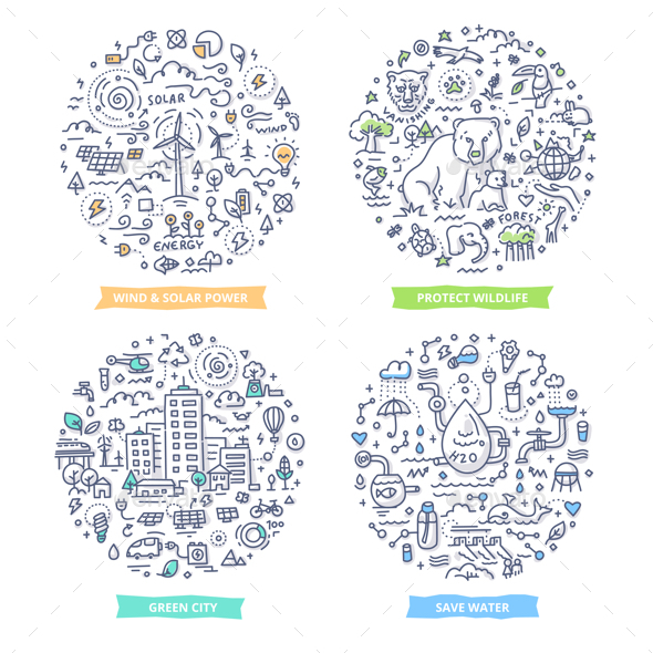 GraphicRiver Ecology Doodle Illustrations 20365614