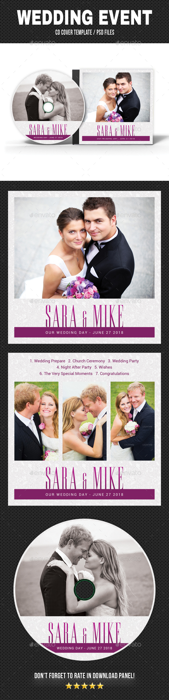 Wedding Event CD Cover v23 - CD & DVD Artwork Print Templates