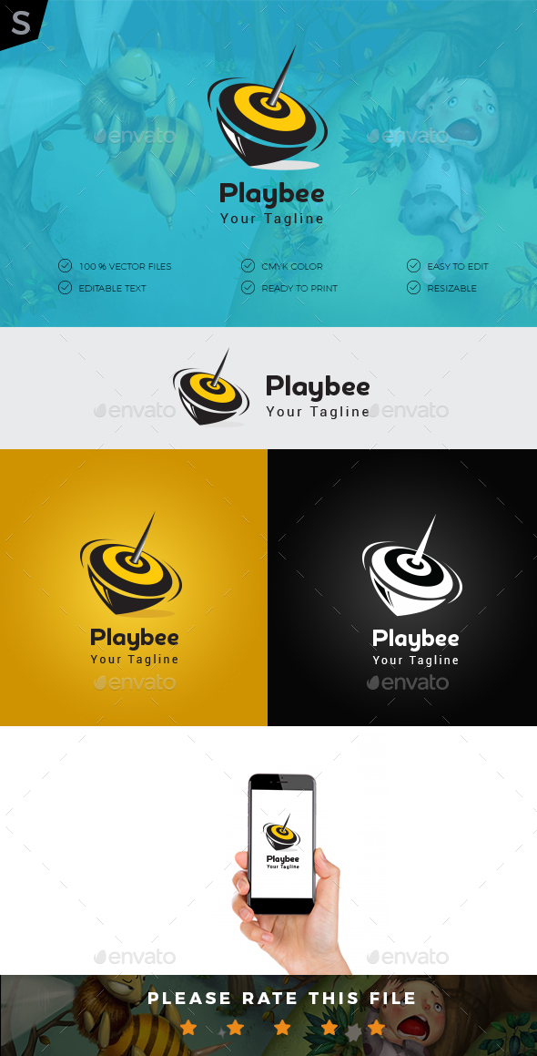 GraphicRiver Play Bee Logo 20332749