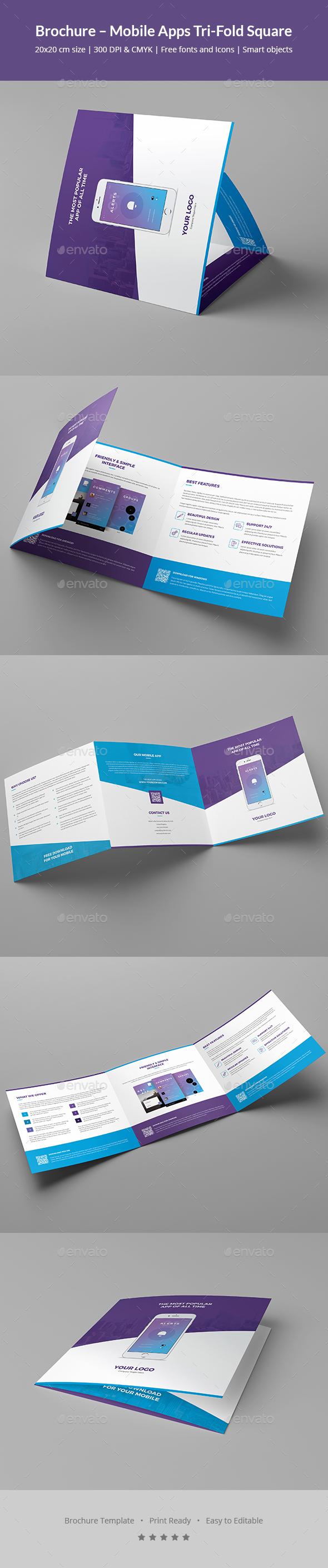 Brochure – Mobile Apps Tri-Fold Square - Informational Brochures