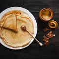 Stack of tasty pancakes with butter and honey for breakfast - PhotoDune Item for Sale
