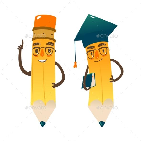 Vector Cartoon Humanized Pencil in Cap and Glasses - Characters Vectors