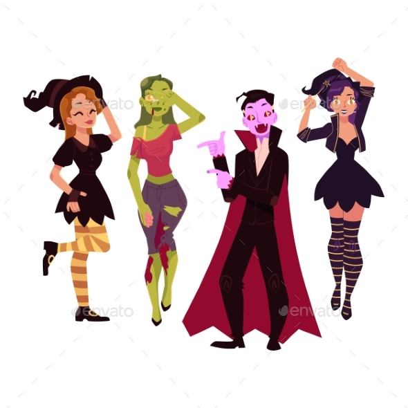 People in Halloween Party Costumes - Witch, Zombie - People Characters