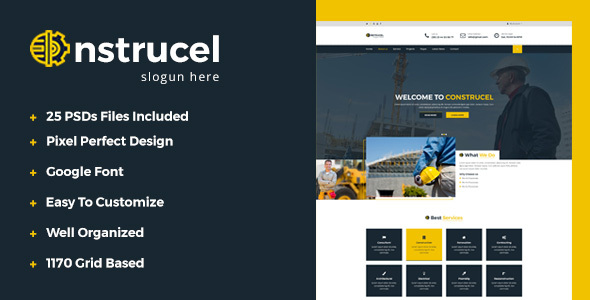 Construcel Construction PSD Template