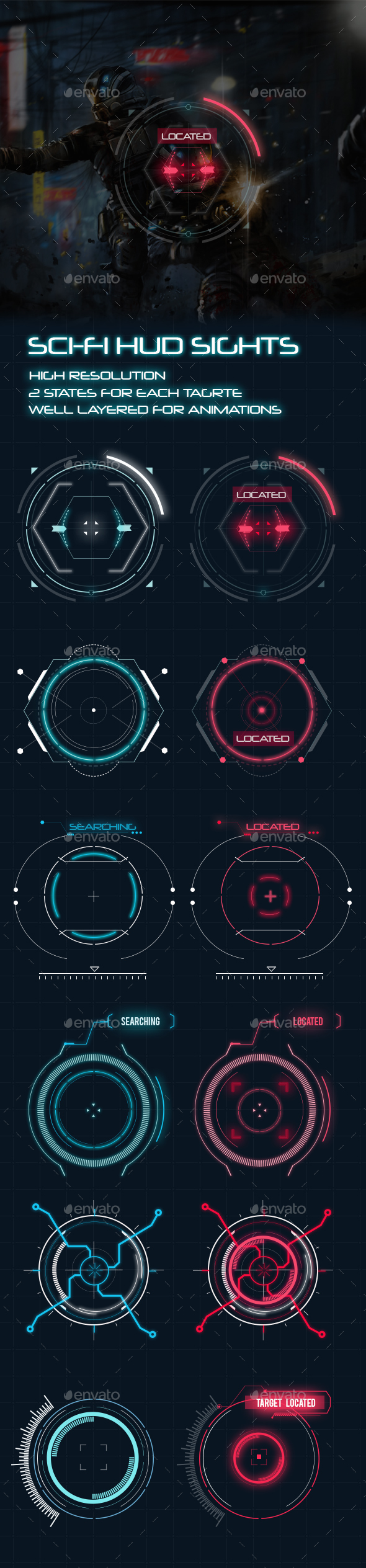 GraphicRiver Sci-Fi HUD Elements for Games 20366649