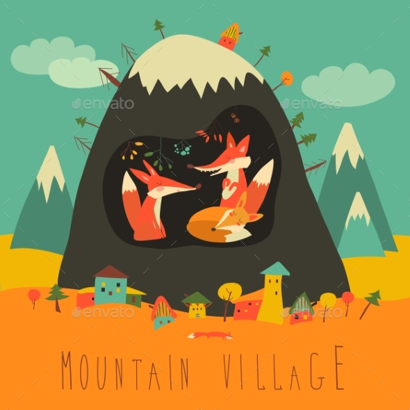 Village By the Mountain with Foxes Inside - Landscapes Nature