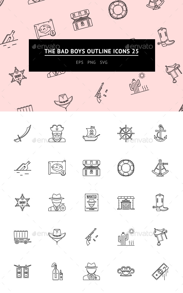 The Bad Boys Outline Iicons 25 - Web Icons