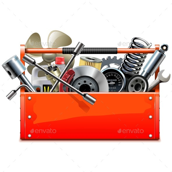 GraphicRiver Vector Red Toolbox with Car Parts 20367133