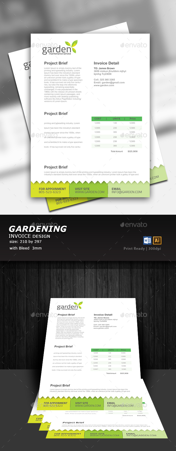 Gardening Invoice - Proposals & Invoices Stationery