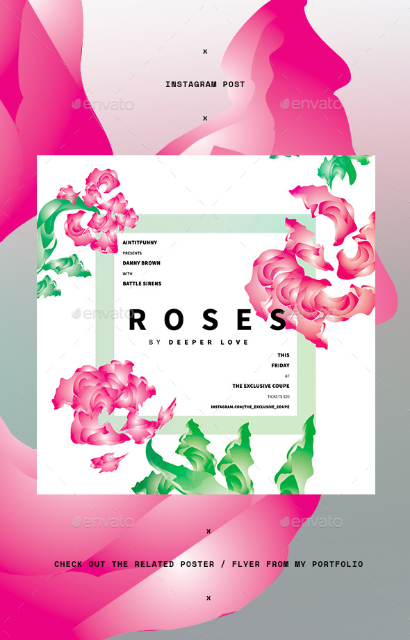 Roses Summer Instagram Post - Social Media Web Elements
