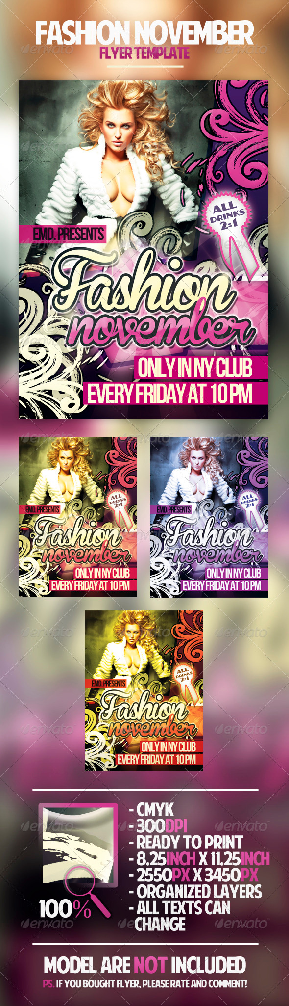 Fashion November Flyer Template - Clubs & Parties Events