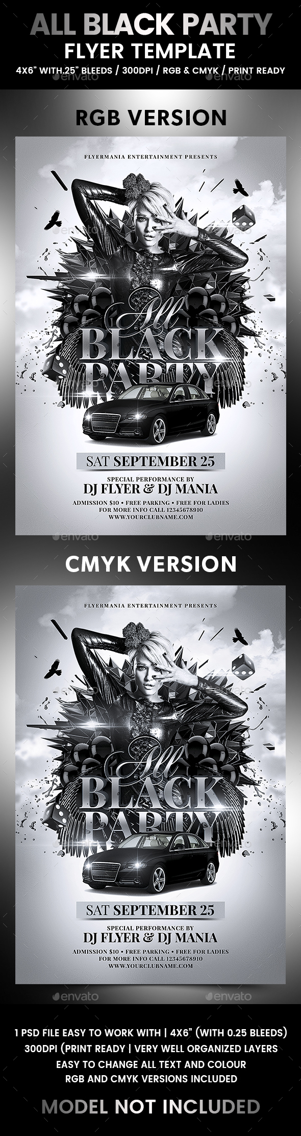 All Black Party Flyer Template - Flyers Print Templates