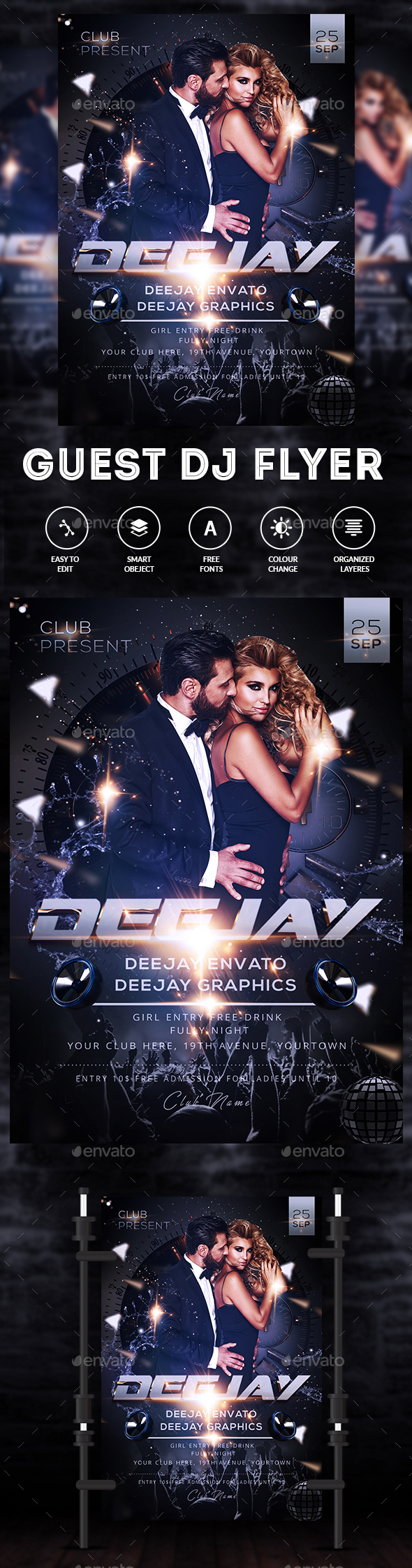 Club Night - PSD Flyer Template - Clubs & Parties Events