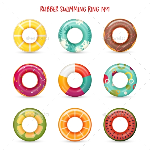Set of Isolated Rubber Swimming Rings - Seasons/Holidays Conceptual
