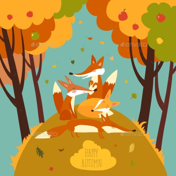 GraphicRiver Cute Foxes in Autumn Forest 20368036