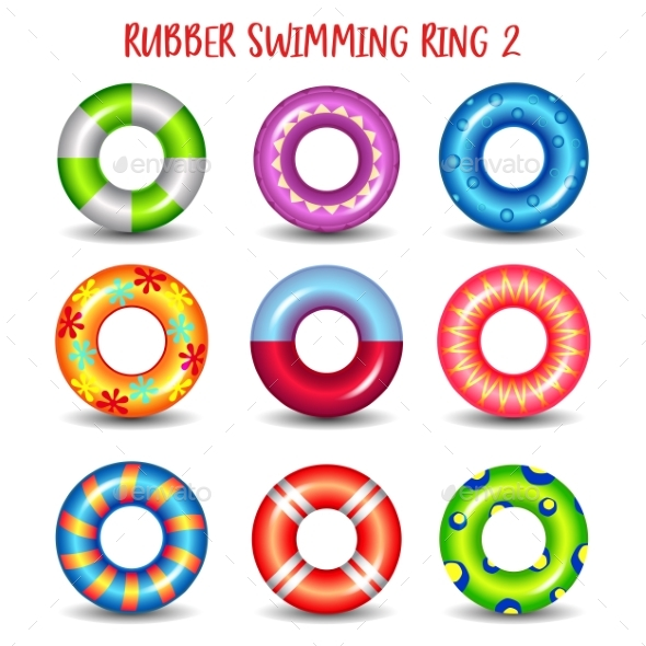 Set of Rubber Swimming Rings with Geometric Paints - Seasons/Holidays Conceptual