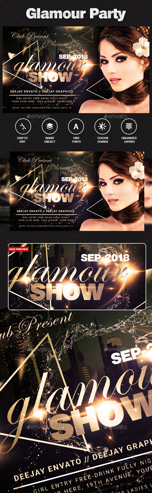 GraphicRiver Glamour Party Flyer 20368108