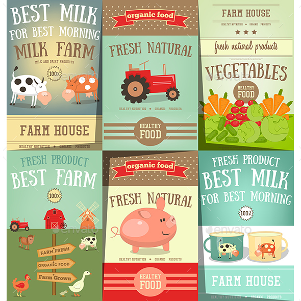 Farm Food and Agriculture Posters Set - Food Objects