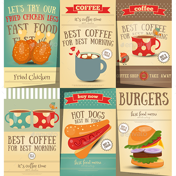 Fast Food and Coffee Posters Set - Food Objects