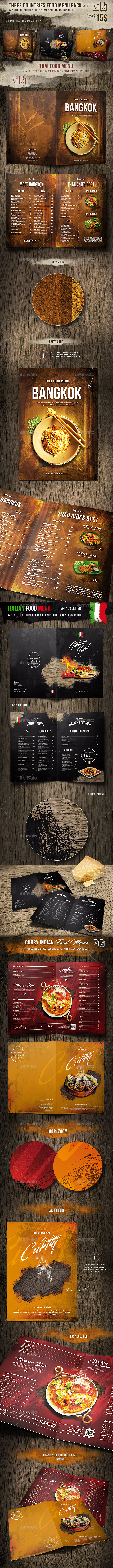 Three Countries Menu Pack vol-2 - A4 and US Letter - Food Menus Print Templates